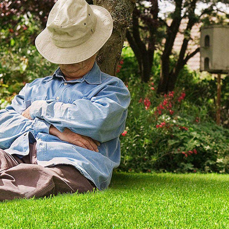 elderly man naps on fake grass under tree